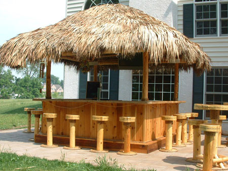 Tiki bar photo gallery tikikev for A frame hut plans