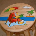 Hand-painted Lounging Parrot Bar Stool