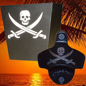 Engraved Set Pirate Wall Mount Bottle Opener And Cap